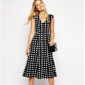 Asos design polka dot midi ponte dress NWT